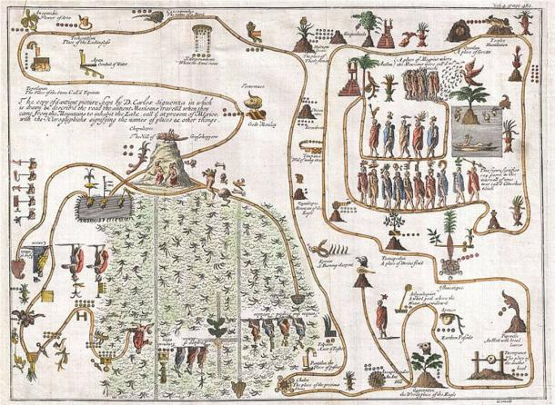 This unusual 1704 map, drawn by Giovanni Francesco Gemelli Careri, is the first published representation of the legendary Aztec migration from Aztlan, a mysterious paradise somewhere to the northwest of Mexico, to Chapultepec Hill, currently Mexico City