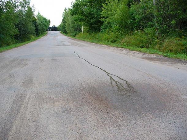 """Poured water running """"uphill"""", this photo is of a cultural heritage site in Canada."""