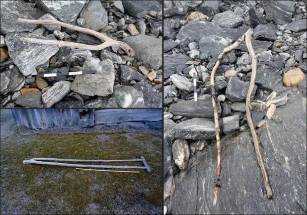Upper left) an object interpreted as a tong (a clamp for holding fodder on a sled or wagon) dated to the Late Roman Iron Age; right) a similar, undated object, also from the pass area; lower left) a historical example from Uppigard Garmo, pre-dating c. 1950. (Glacier Archaeology Program & R. Marstein)