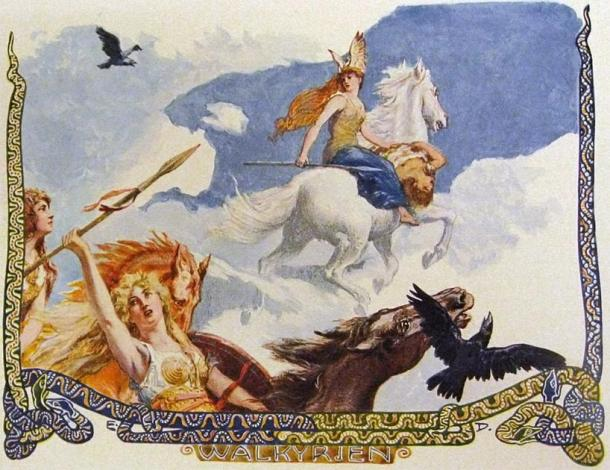 Depiction of a number of valkyries riding flying horses holding the corpse of a man from Norse legend. (Emil Doepler / Public domain)