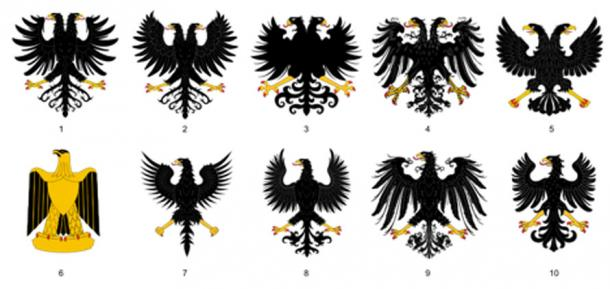 A variety of eagle insignias from different empires. Top: Heraldic double-headed displayed eagle. Bottom: Heraldic displayed eagle.