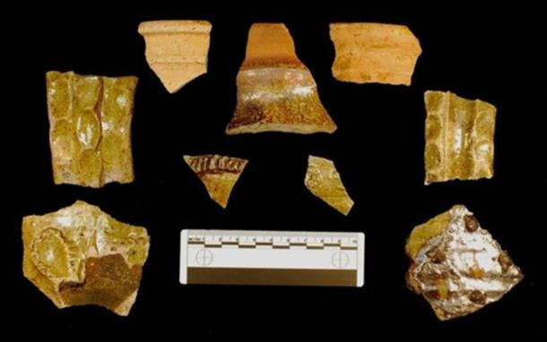 A variety of fragments that survived under generations of industrial use on the site.