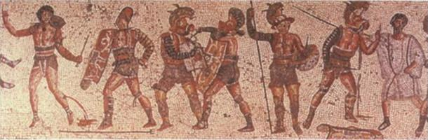 A variety of gladiator types with their armor and weapons are shown on the Zliten mosaic. (Public Domain)
