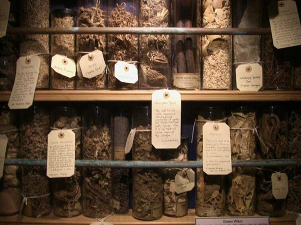 A variety of herbs and other floral ingredients that British cunning folk used in preparing potions and other healing concoctions.