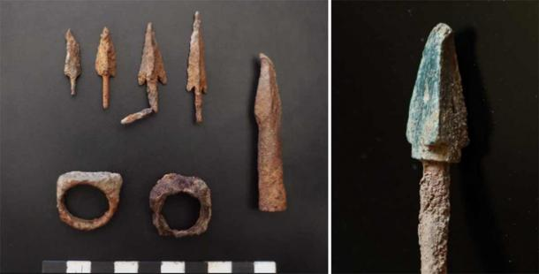 A variety of arrowheads vlot and signet rings, plus Chinese crossbow bolt on the left are evidence of the battles for this stragetic point. (Institute of Archaeology RAS)