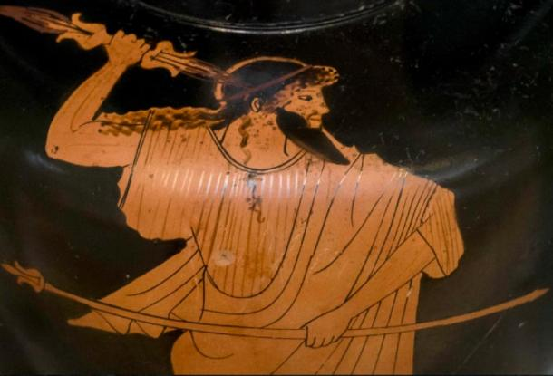 On this vase from about 470 BC, Zeus holds his scepter of rule in his left hand and his lightning bolt in his right. (Public Domain)