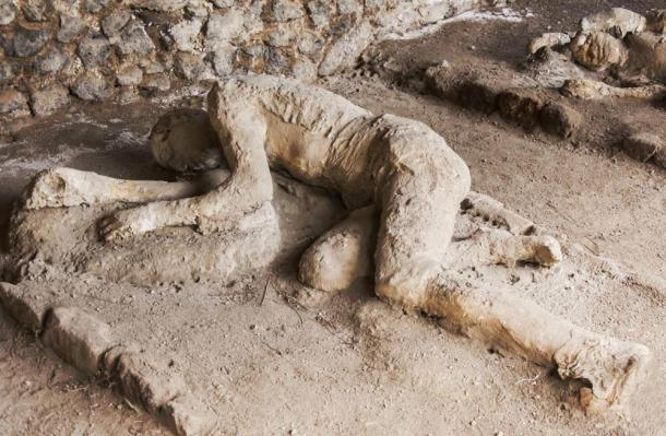 Some of the victims of Pompeii were sitting, some lying when the superhot gas cloud enveloped them.