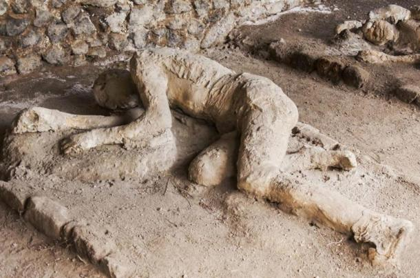 Some of the victims of Pompeii were sitting, some lying when the superhot gas cloud enveloped them