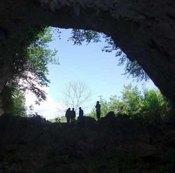 The view from the Satsurblia cave in Western Georgia, where a human right temporal bone dating from over 13,000 years ago was discovered. DNA extracted from this bone was used in the new research.