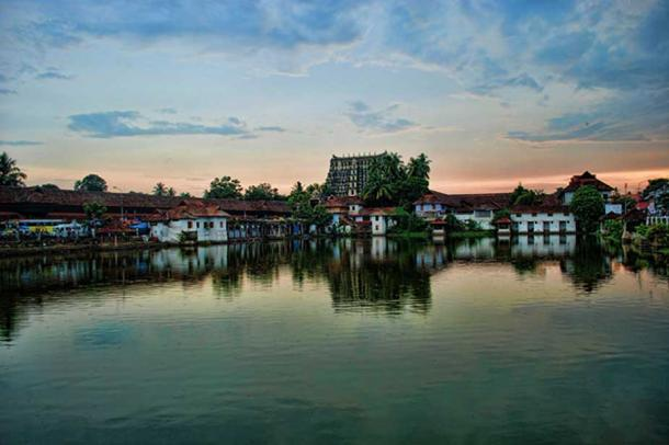 A view of the Padmanabhaswamy Temple complex from afar.