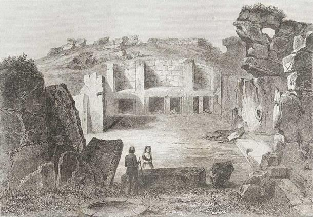 A view of the Ġgantija megalithic temple in Gozo, Malta, from the series L'Univers pictoresque. Augustin François Lemaître - Marie-Lan Nguyen (2013). (Public Domain).