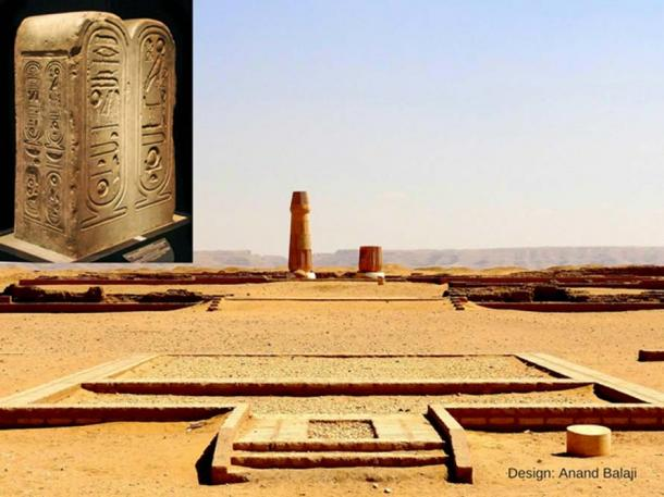 """A view of the restored columns in front of the Small Aten Temple Sanctuary that overlook the """"Akhet"""" or horizon from where the Aten rises each morning. Tell el-Amarna. (Photo: Olaf Tausch). Inset: This well-preserved stela was discovered among the ruins of the Great Aten Temple. It bears the cartouche of Akhenaten on its left side; and the name of the Aten is enclosed in a royal cartouche. (Photo: Jean-Pierre Dalbera)"""