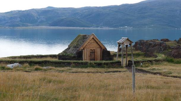 Reproduction of Brattahlíð Viking church in Greenland, Erik the Red's estate in the Eastern Settlement Viking colony