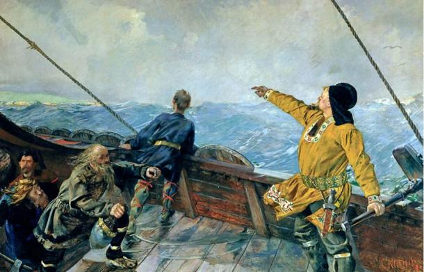 The Vikings were known to be master seafarers. Leiv Eiriksson Discovers America by Christian Krohg, 1893