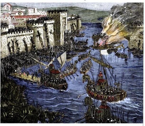Vikings raiding Paris on March 29, 845 AD. (Public Domain)