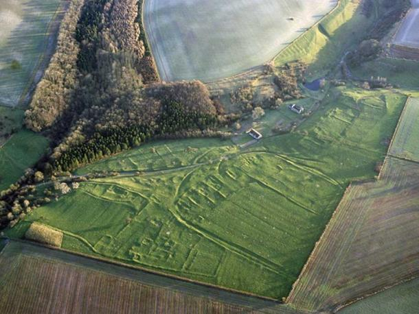 The outlines of the village of Wharram Percy are still visible.