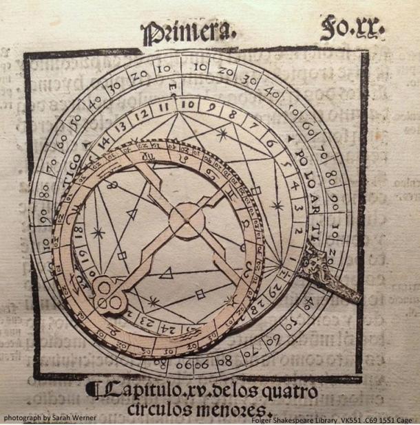 A volvelle from Martín Cortés's 16th century book Breve compendio de la sphera y de la aite de navegar,  a seminal text for oceanic exploration.