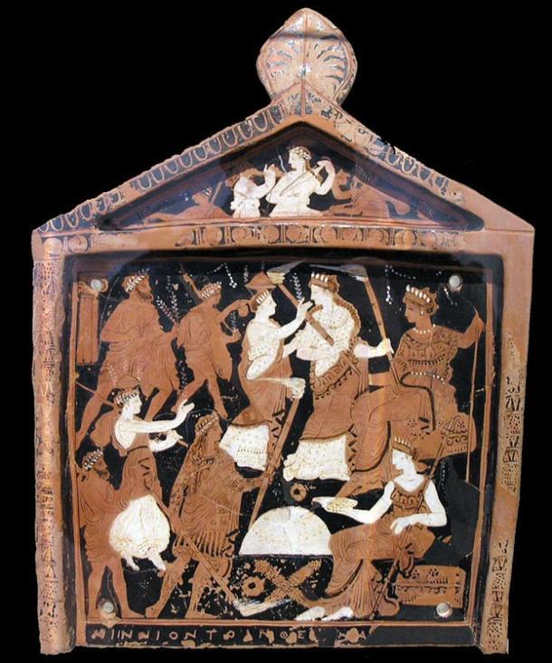 Una placa votiva conocido como el Ninnion Tablet elementos de la Misterios de Eleusis, en el que se cree pociones psicoactivas fueron utilizados durante los rituales que representa.  (Mediados del siglo cuarto antes de Cristo).