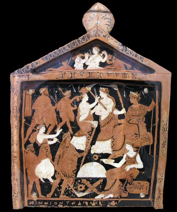 A votive plaque known as the Ninnion Tablet depicting elements of the Eleusinian Mysteries, in which it's believed psycho-active potions were used during rituals. (mid-4th century BC).