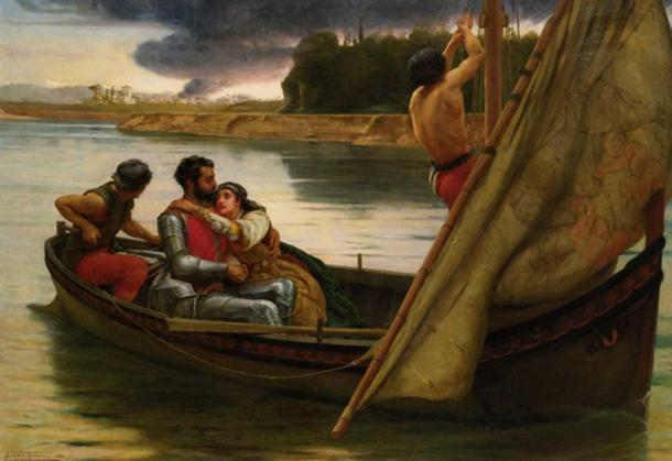 Voyage of King Arthur and Morgan Le Fay to the Isle of Avalon, Frank William Warwick Topham (1838-1924).