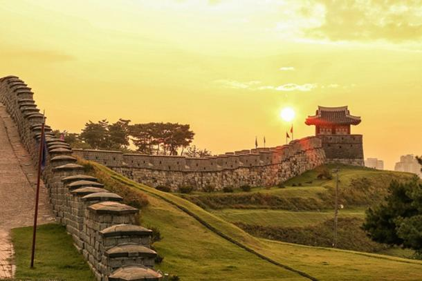 The wall of Hwaseong Fortress, built from 1794 to 1796 by King Jeongjo of the Joseon Dynasty