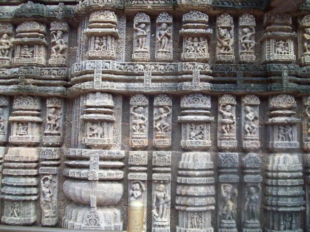 Dancing poses on the wall of the Konark Sun Temple, an Eastern Ganga Dynasty treasure