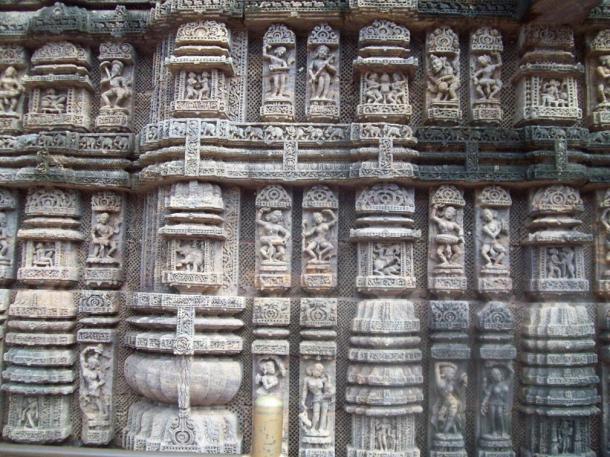Dancing poses on the wall of the Konark Sun Temple, an Eastern Ganga Dynasty treasure