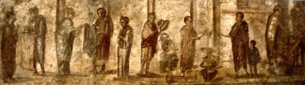 A wall painting from Pompeii depicting everyday activities in a Roman marketplace.