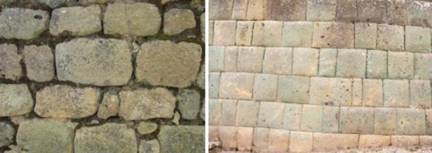 Izquierda: Una pared Cañari con mortero en Ingapirca.  Derecha: Una pared Inca sin mortero en Ingapirca