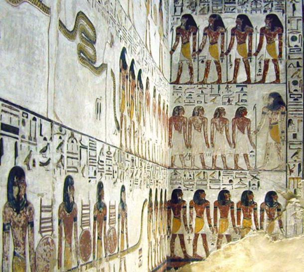 One of the decorated (and damaged) walls in the tomb of Seti I.
