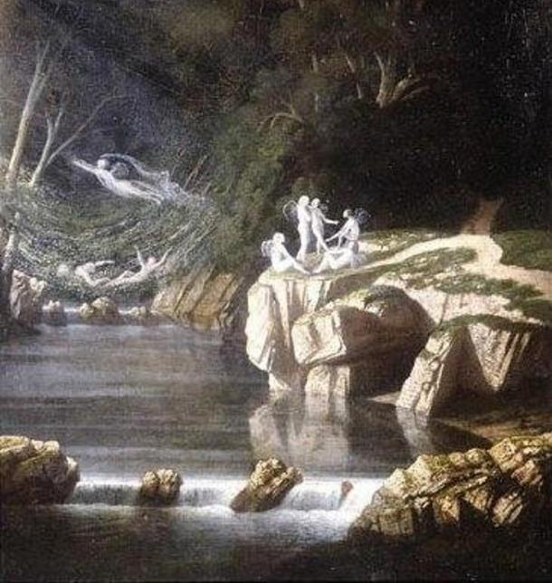 The warrior Midir lived among the sídhe, the fairy-race of Ireland. 'Fairies' by Francis Danby, 1840