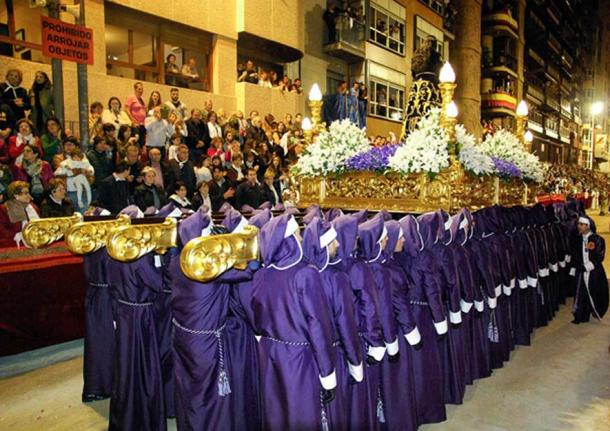 Holy week procession in Spain (public domain)