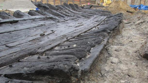 The well-preserved wood of the ship.