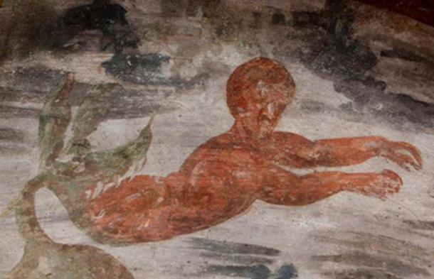 The whale spits out Jonah in a fresco unveiled this week in the huge Roman Christian Catacombs of St. Domitilla.