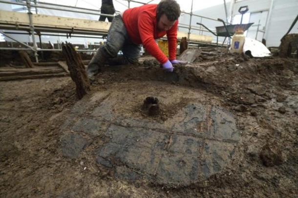 The wheel was found close to one of the settlement's roundhouses.