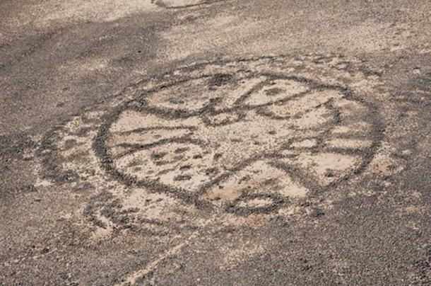 Close-up photo of one of the wheels geoglyph from the Azraq area