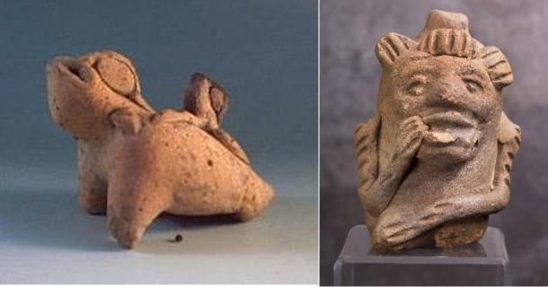 Left: A whistle in the shape of a frog from Yaxchilan (Tlapitzalli.com). Right: Maya monkey whistle.