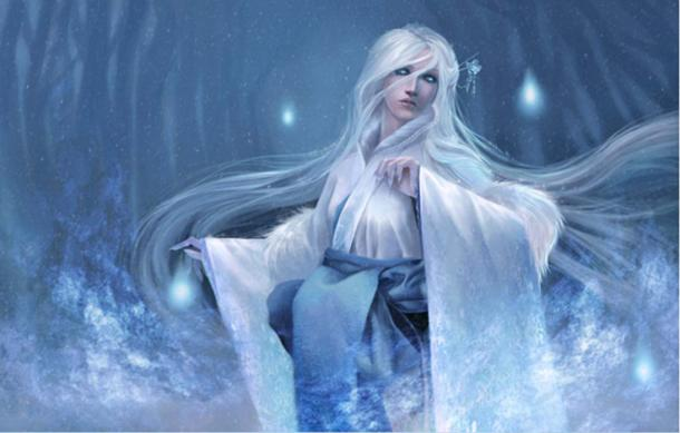 A white-haired Yuki-onna.