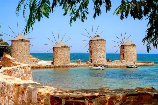 Iconic windmills from the modern-day island of Chios, Greece. (raban48 / Adobe stock)