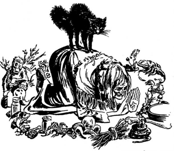 Illustration of a witch and her cat. Internal Illustration from the pulp magazine Weird Tales (September 1941, vol. 36, no. 1).