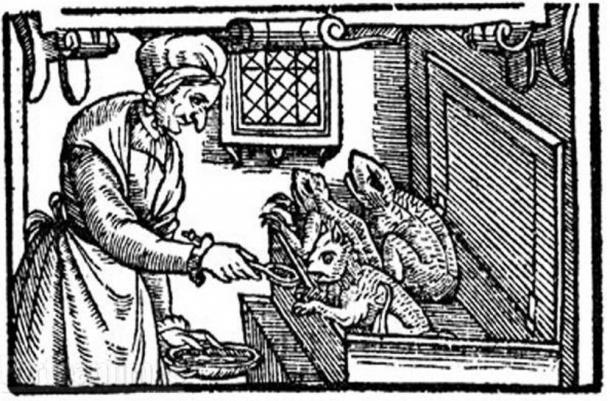 A late-sixteenth-century illustration of a witch feeding her familiars from England. A number of historians believe that the familiar spirit is a pre-Christian idea.