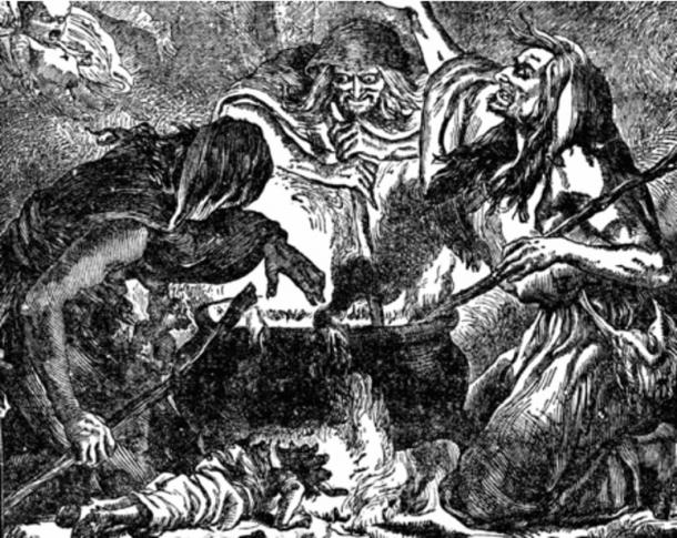 Three witches in a cave