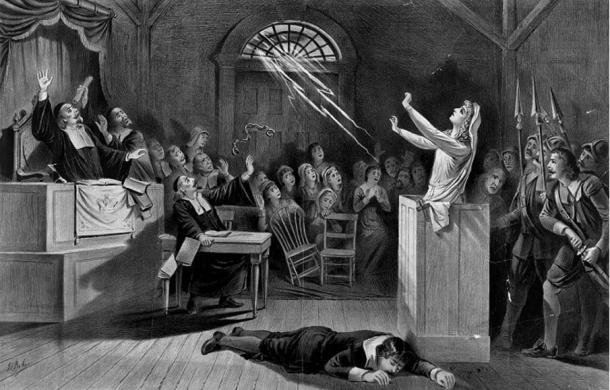 Illustration of a woman during a trial for witchcraft. (Public Domain) Women were mostly associated with practicing witchcraft.