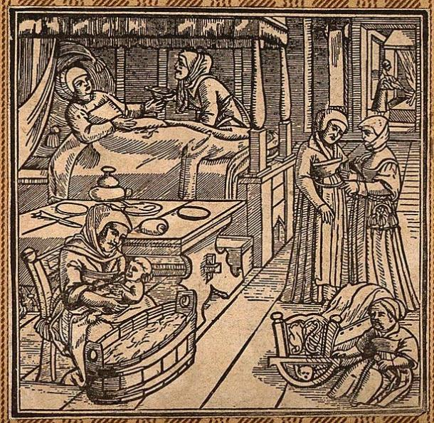 A woman in bed recovering from childbirth, a midwife washes the baby while another attendant looks after the mother. Woodcut.