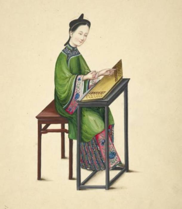 Watercolor illustration of a woman playing a zheng, or guzheng