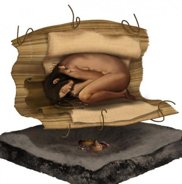 A representation of the woman's burial.