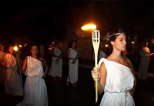 Procession of young women with torches at the feast of Heraea in Pythagorion of Samos.
