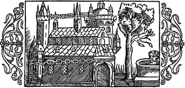 A woodcut depicting the Temple at Uppsala as described by Adam of Bremen, including the golden chain around the temple, the well and the tree
