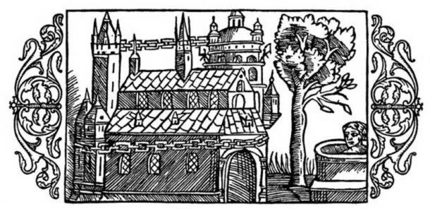 A woodcut depicting the Temple of Uppsala, as described by Adam of Bremen. (Public Domain)