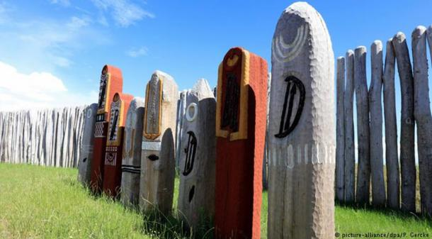 """The wooden """"German Stonehenge"""" at Pommelte has been reconstructed in wood after 4,300 years and is open to the public."""
